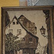 SALE Vintage Tapestry Marked: La France Art Company 1920s Picture Scene