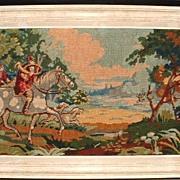 SALE Needlework Tapestry Hunt Scene Fox Hounds Belguim Embroidery