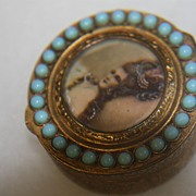 SALE Antique Snuff Pill Box Italy Madame de Pompadour Stones