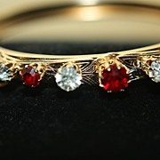 SALE Vintage Ruby Garnet Paste Bangle Clamper Bracelet Gold Plate