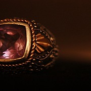 SALE 14k 925 Sterling Silver Amethyst Ring Ornate