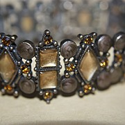 SALE Vintage Stretch Expansion Bracelet Fall Topaz Rhinestone Moonglow