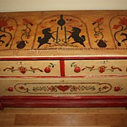 SALE Antique Chest Unicorns Hearts Colonial Riders Birds Hand Painted
