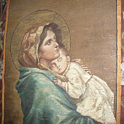 SALE Antique 1905 Painting Church Banner Madonna after Ferruzzi Madonnina