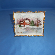 SALE Vintage '76 Christmas Porcelain Plaque China Gold HP Signed Winter Wonder
