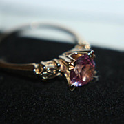 SALE Vintage 14K Sapphire Ring Pink Lavender Engagement Solitaire Wedding 1.00 Carat