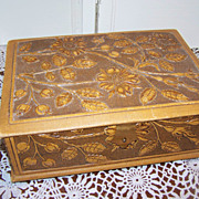 SALE Vintage Trinket Jewelry Box Embossed Tufted