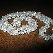 "SALE Vintage Aquamarine Chips Necklace Beads Long 22"" inches"