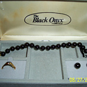 SALE Black Onyx Faux Set Earrings Bracelet Ring Original Box