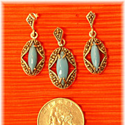 SALE Vintage Turquoise Set Earrings Pendant Dangle Marcasites Glass