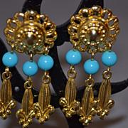 SALE Earrings Dangle Fleur De Lis Earrings Turquoise Faux