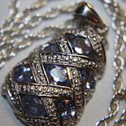 SALE PENDING Estate Large Tanzanite Pendant Chain Necklace 925