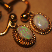 SALE Vintage Opal Earrings Dangle 1/20 12K GF