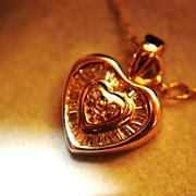 SALE PENDING Vintage 10K Diamond Heart Pendant Chain Baguettes