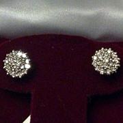 SALE Estate 14K Diamond Earrings Studs Cluster Starburst Brilliant