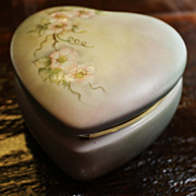 SALE Vintage Heart Porcelain Box Trinket Dresser Floral Hand Painted