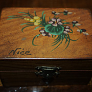 SALE Antique French Box Wooden Hand Painted Tufted Silk