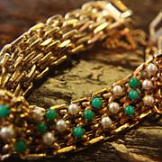 SALE Vintage Bracelet Turquoise Pearl Faux Goldtone Finish