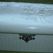 SALE Antique 1892 Box Celluloid Floral Creme Chest Trunk Dated Signed