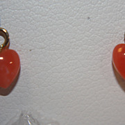 SALE Vintage 14K Coral Earrings Dangle Hearts Genuine