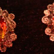 SALE Vintage Citrine Stud Earrings Large Lovely 1.40ctw