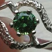 "SALE Vintage Lime Green Tourmaline Ring Natural Swirl Design ""Sterling"""