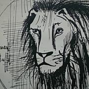 SALE Bernard Buffet Print Pen & Ink Rare Le Lion Silver Plates