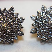 """14K Diamond Starburst Earrings Studs Posts Cluster Star Burst 1/2"""""""