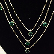 SALE Vintage Green Garnet Necklace Italy Deep Emerald Color