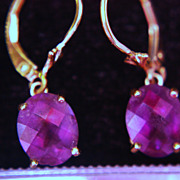 SALE 14K Amethyst Earrings Dangle