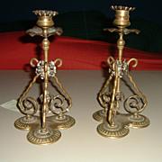 Antique English Brass Pair Candlesticks Circa 19th Century