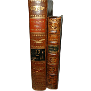 SOLD Vintage French Leather Books 2 Volumes Dated 1824