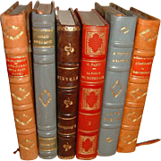 Vintage French Leather Books. 6 Volumes