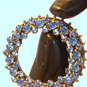 SALE Sparkling Ocean Blue 1930's Czech Rhinestone Dress Clip