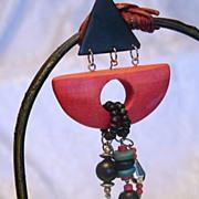 REDUCED Wonderful Wacky Wooden 1980's Egyptian Revival Earrings