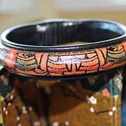 SALE Classic Ink-Drawn Graphic Leather 1980's Ethnic Bangle