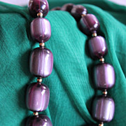 SALE Luscious Frosted Blueberry Coro Moonglow Lucite Necklace