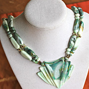 SALE Plastic Fantastic Green Marbled 60's Necklace