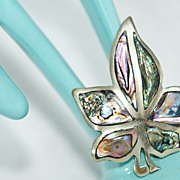SALE Abalone Inlaid Maple-Leaf Brooch
