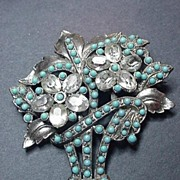 Vintage Pot Metal Faux Turquoise and Rhinestone Pin