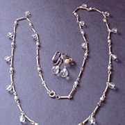 Vintage Pearl and Crystal Necklace and Earrings