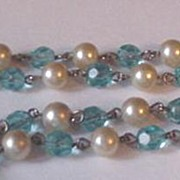 Old Faux Blue Topaz and Faux Pearl Necklace