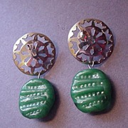 Vintage Jewelry Castlecliff Big Faux Carved Jade Earrings