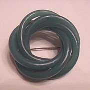 Vintage Costume Jewelry Green Celluloid Licorice Pin