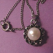 Vintage Costume Jewelry Danecraft Sterling Silver and Pearl Necklace