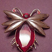 Vintage Jewelry Huge Red Rhinestone Bug or Moth Pin