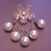 Vintage Jewelry Celluloid Flower - Dangle Chain with Faux Pearl Drops Pin