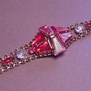 Vintage Jewelry Superb Ruby Red Large Rhinestone Bracelet