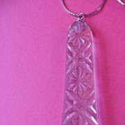 Vintage Crystal Clear Pressed Glass Pendant Necklace