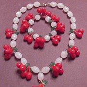 Faux Carved Moonstone with Plastic Cherry / Cherries and Leaves Necklace and Bracelet